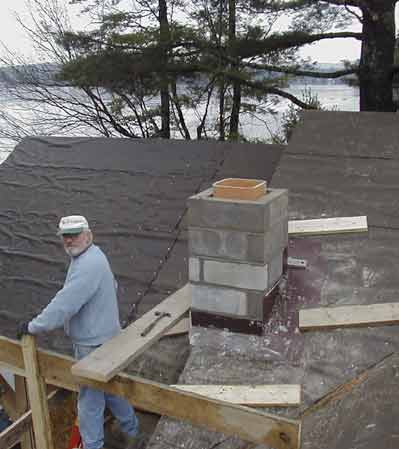 Picture of partially complete new chimney.