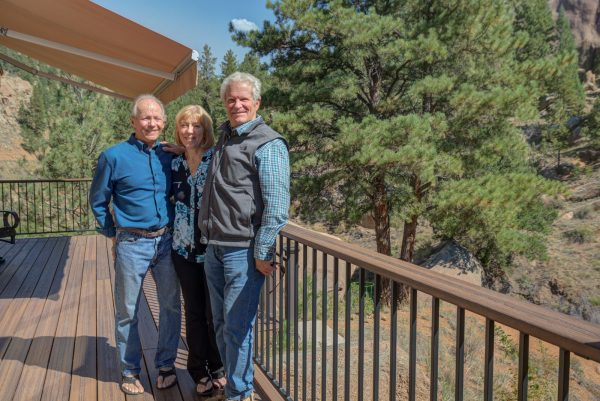 Randy & Sandy B (L) and Steve Crook (R) at the custom home built by Steve Crook Design and Construction