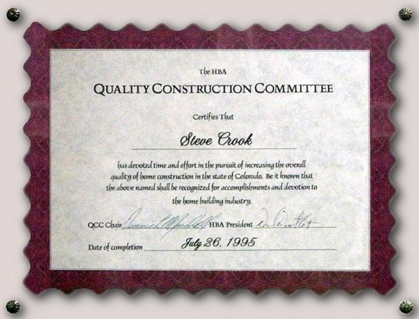 Quality Construction Certificate