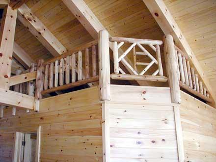 Image of Lake House Interior hand railing and latticework.