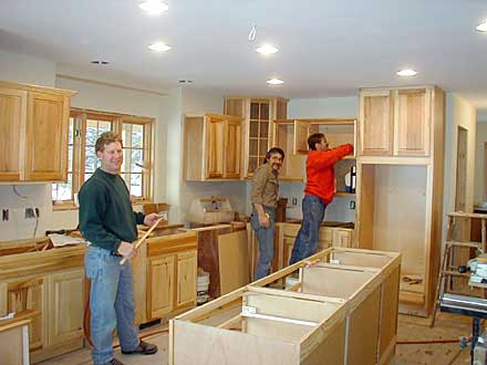 Lake House kitchen cabinet installation crew