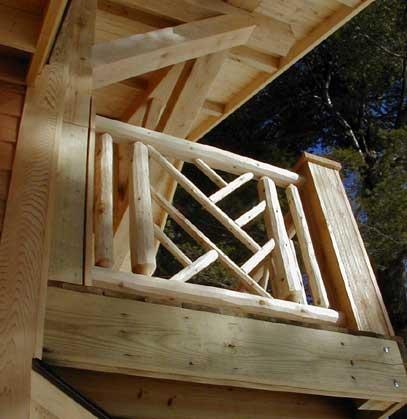 Detail view of exterior latticework on deck railing