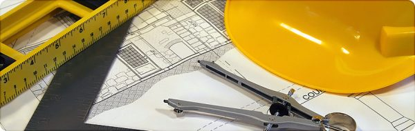 Graphic image of blueprint and construction tools